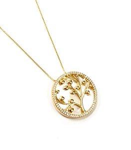 Gargantilha  folheada a ouro de arvore da  vida com zirconias e madreperola