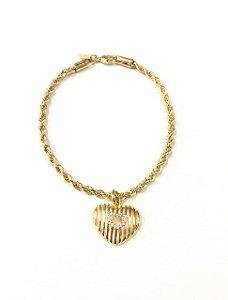 Pulseira  cordão baiano folheada a ouro com pingente  cravejado de zirconia