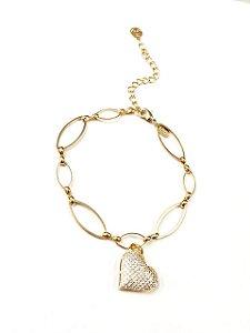 Pulseira  folheada a ouro com  pingente de coração cravejado de zirconia