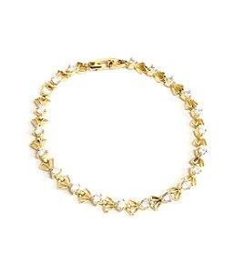 Pulseira  folheada a ouro cravejado de zirconias