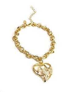 Pulseira  folheada a ouro com pingente de coração cravejado de zirconias
