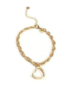 Pulseira  folheada a ouro com pingente de coracao cravejada de zirconias