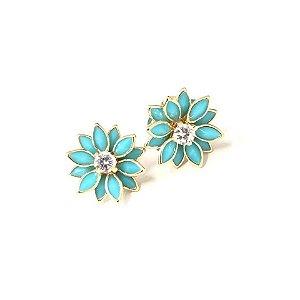 Brinco de florzinha azul