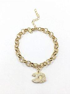 Pulseira  folheada a ouro com pingente cravejado com zirconia
