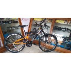 BICICLETA ARO 24 MASCULINA FULL SUSPENSION 18 VEL
