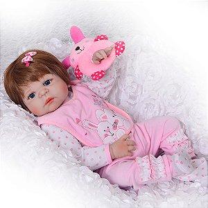 Bebe Reborn de Silicone, Boneca Linda, 55 Cm Pronta Entrega