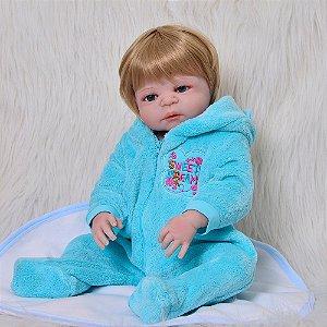 Bebe Reborn, Menino, CM 57 Loro Pijama Azul
