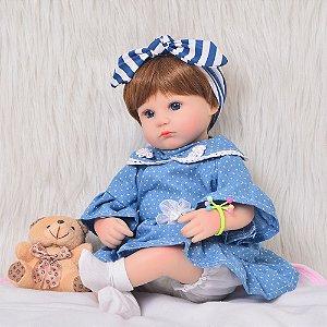 Bebe Reborn, Menina, 43 CM Vestinho Azul
