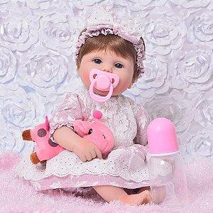 Bebe Reborn, Menina, 43 CM Vestidinho Rosa