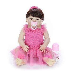 Bebe Reborn, Menina, 57 CM Bolinhas brancas