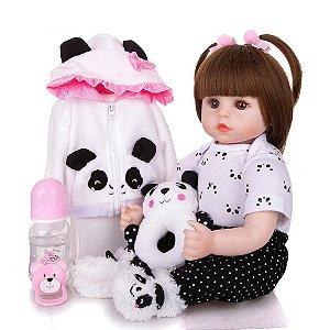 Bebe Reborn Menina, Panda 100% SILICONE - Original ®