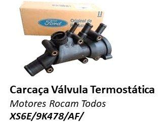 CARCAÇA DA VALVULA TERMOSTATICA ORIGINAL KA FIESTA COURRIER ECOSPORT TODOS COM MOTOR ZETEC ROCAM XS6E9K478AF