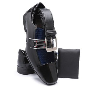 Sapato Social Masculino Com Cinto E Carteira Em Verniz Bikarelo 109