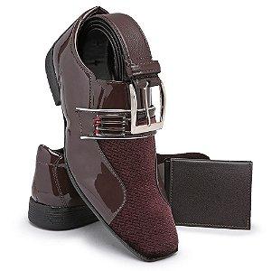 Sapato Social Masculino Com Cinto E Carteira Em Verniz Bikarelo 110