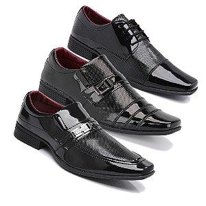 Kit 3 Pares Sapatos Sociais Masculino Em Verniz Schiareli K3