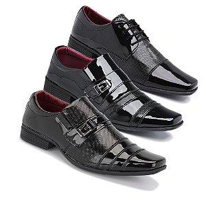 Kit 3 Pares Sapatos Sociais Masculino Em Verniz Schiareli K4