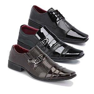 Kit 3 Pares Sapatos Sociais Masculino Em Verniz Schiareli K7