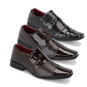 Kit 3 Pares Sapatos Sociais Masculino Em Verniz Schiareli K9