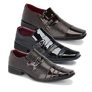 Kit 3 Pares Sapatos Sociais Masculino Em Verniz Schiareli K10