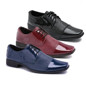 Kit 3 Pares Sapatos Sociais Masculino Em Verniz Schiareli K21