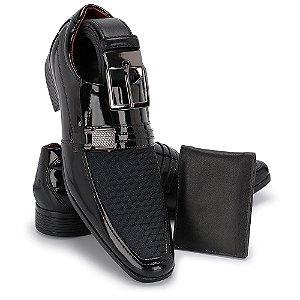 Sapato Social Masculino Com Cinto E Carteira Em Verniz Eurofex 010