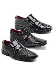 Kit 3 Pares Sapatos Sociais Infantil Masculino Em Verniz Schiareli K1