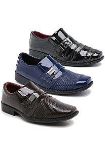 Kit 3 Pares Sapatos Sociais Infantil Masculino Em Verniz Schiareli K2
