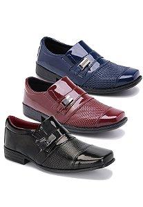 Kit 3 Pares Sapatos Sociais Infantil Masculino Em Verniz Schiareli K4