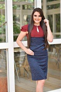 Jardineira vestido azul