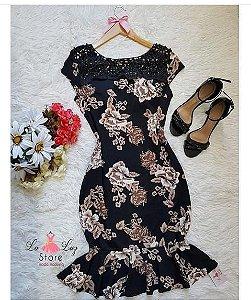 Vestido floral preto com detalhes