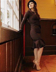 Vestido Paris médio manga longa