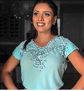 Blusas jóias azul claro