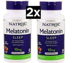 Melatonina 10 mg - Natrol - Liberação Rápida - Total 120 comprimidos sabor Morango - Frete Grátis