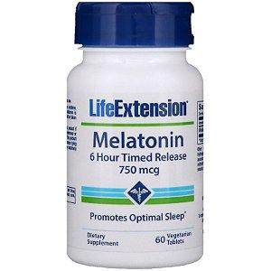 Melatonina 750 mcg - Liberação Gradual (6 horas) - Life Extension - 60 tablets (hormônio do sono)