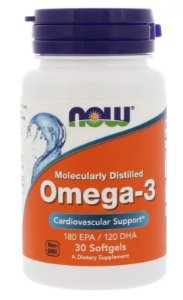4 X Ômega 3 1000 mg - NOW FOODS - Total 120 Softgels