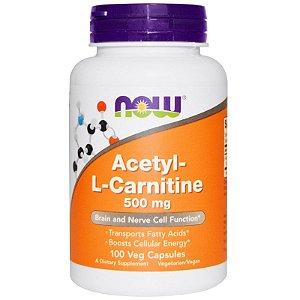 Acetil L-Carnitina 500 mg -  Now Foods  - 100 cápsulas - Frete Grátis