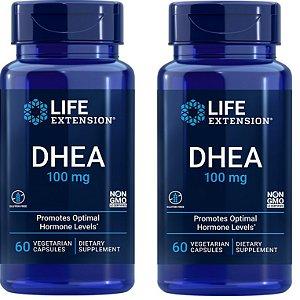 Life Extension, DHEA 100mg - 2 frascos total 120 cápsulas
