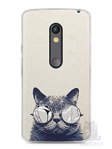 Capa Capinha Moto X Play Gato Com Óculos