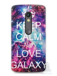 Capa Capinha Moto X Play Keep Calm and Love Galaxy