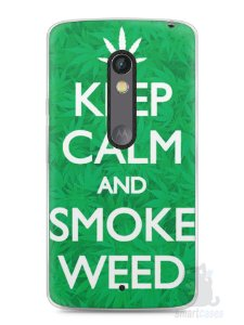 Capa Capinha Moto X Play Keep Calm and Smoke Weed