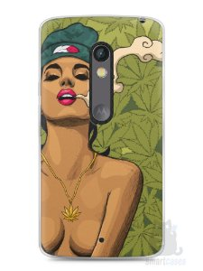 Capa Capinha Moto X Play Girl Smoking Weed