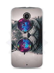 Capa Capinha Moto X2 Gato Galáxia #1