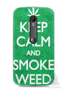 Capa Moto G3 Keep Calm and Smoke Weed