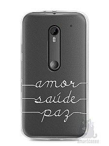 Capa Moto G3 Amor Saúde Paz