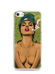 Capa Iphone 5C Girl Smoking Weed