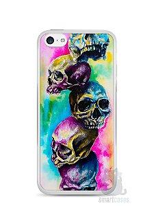 Capa Iphone 5C Caveiras Coloridas Pintura