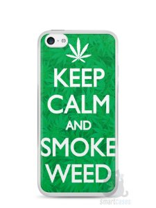 Capa Iphone 5C Keep Calm and Smoke Weed