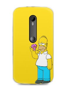 Capa Moto G3 Homer Simpson Comendo Donut
