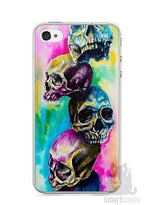 Capa Iphone 4/S Caveiras Coloridas Pintura