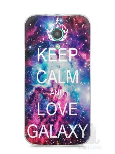 Capa Moto G2 Keep Calm and Love Galaxy